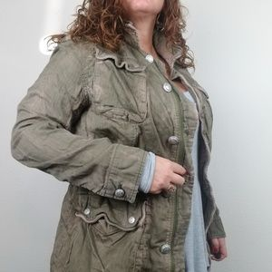 Free People Military Jacket Green Double Cloth Med